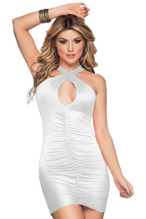 1004-Kadın Çapraz Sırt Detaylı Süper Mini Elbise