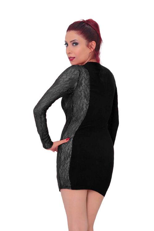 1005-Kadın Dantel Detaylı Süper Mini Elbise