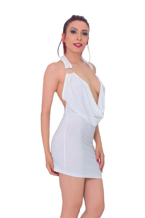 1006-Kadın Degaje Yaka Süper Mini Elbise