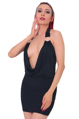 1006-Kadın Degaje Yaka Süper Mini Elbise - Thumbnail