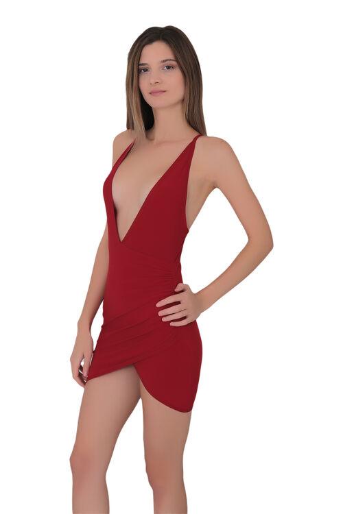 Kadın Derin Dekolteli Süper Mini Elbise