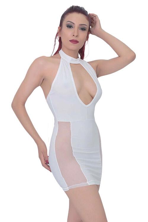 1002-Kadın Transparan Detaylı Süper Mini Elbise