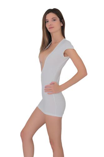 1008-Kadın Yaka Dekolteli Süper Mini Elbise - Thumbnail